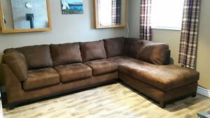 Brown Microfiber Couch with chase