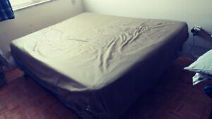 Queen size mattress with box and bed frame