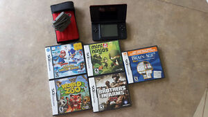 Red Nintendo DS Lite & 4 Games + Brain Age