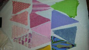 Fabric triangles for bunting.