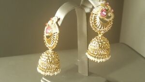 Fabulous Indian Bollywood Jewellery Pink Jumka Bali Earrings.