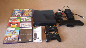 XBOX 360 with Kinect and six games