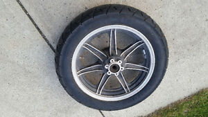 Motorcycle tire with rim
