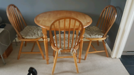 Round Pine Dining Table and 3 Chairs
