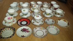 Bone China 38 Pieces Cup & Saucer Collection. Various Brands