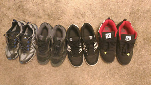 DC vans and Adidas shoes