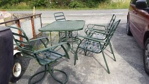 2 GLASS & STEEL PATIO TABLE SETS