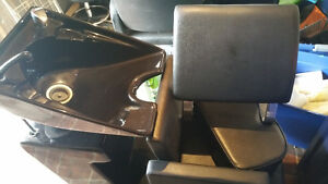 Salon sink, 2 leather chairs and foot rest Kitchener / Waterloo Kitchener Area image 1