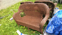 Outdoor Wicker Love Seat and two Chairs