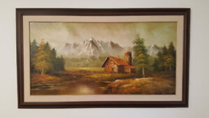Beautiful framed hand painted art oil cabin mountains trees