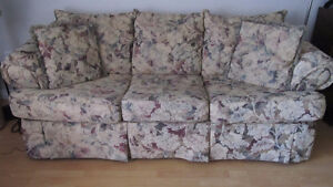 MATCHING CHESTERFIELD, LOVE SEAT AND FOUR DECORATOR PILLOWS