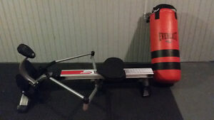 rower and punching bag