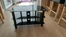 Black Glass Corner TV Unit with 3 Shelves 80x45x48