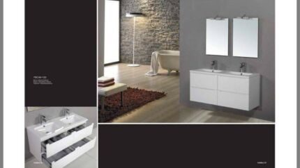 Bathroom Vanity Gloss White Ceramic With 4 Drawers - 1200