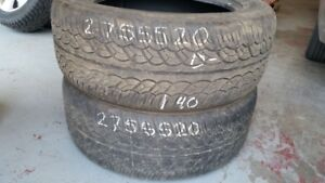 Pair of 2 Yokohama Parada SpecX 275/55R20 tires (40% tread life)