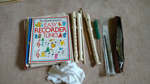 Set of Three Recorders and Sheet Music