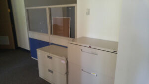 Metal Office Filing Cabinets, Chairs, Table