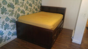 Wood Full/Double Bedframe with Bookcase and Storage Underneath