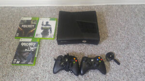 XBOX 360 - 4GB with Two Controllers & Games
