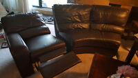 Real leather sectional couch with built in recliner