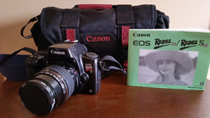 Canon SLR Film Camera with Strap, Case, Manual, Battery