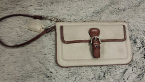 Authentic White Leather Coach Wristlet