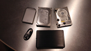 Hard drives, 1tb, 320gb and 400gb and external dock