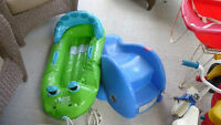 Children's Trikes, Pool Toy, Slide, Snow Rider, and Ride-in Car