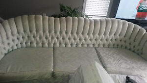 mint green design long good condition couch/MAKE OFFERS O.B.O
