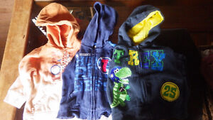 3 boys hooded sweaters sizes 12- 24 months