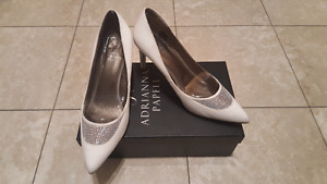 Adrianna Papell Ivory Satin Jeweled Pumps