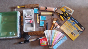 Paint Supplies: Brushes, Extionsion Pole, Trays, Rollers