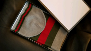 GUCCI SCARF AND HAT SET TUQUE FOULARD ENSEMBLE GREY NEW IN BOX
