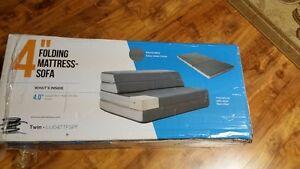 Lucid 4-Inch Folding Mattress, Twin Size, NEW - Matelas pliable