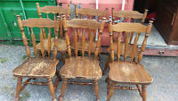 6 Solid Wood Dining Room Chairs