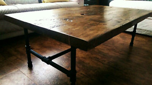 Barn board and industrial pipe coffee table reclaimed wood