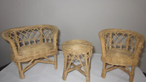 Vintage 1980's Barbie sized wicker furniture chair table set