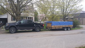 Truck and 7x18 trailer heading west