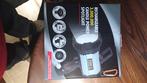 3,000,000 candle power rechargeable spotlight