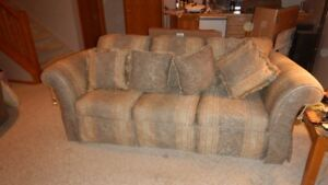 Upholstered Sofa and Love Seat c/w Pillows