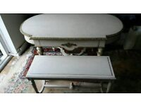 Antique Solid wood table/dresser with Solid brass beading + bench