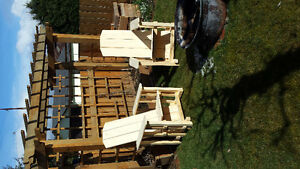 Yellow cedar patio chairs