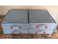 Blue under bed storage boxes x4