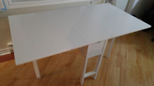 White Folding  table with drawer - Great condition!