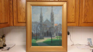Antique church oil painting