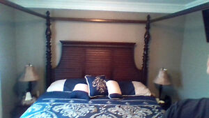 King size canopy style bed massive wood frame with mattress