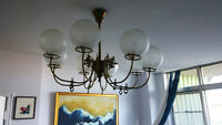 Beautiful Antique Chandelier, Brass and etched glass