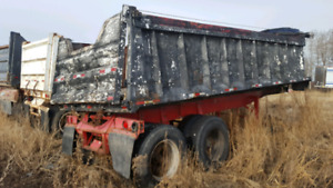 1990 and 1985 24 foot End dump gravel trailer.