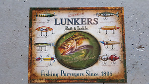 Lunker bait tin sign