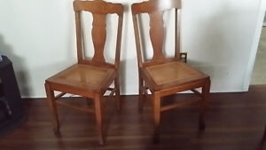 Oak chairs - caned